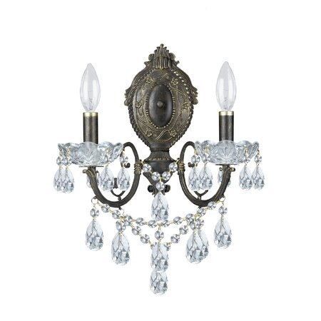 Traditional Classic Crystal Wall Sconce in English Bronze ...