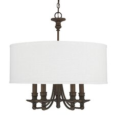 Midtown 5 Light Chandelier in Burnished Bronze