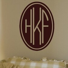 Personalized Three Letter Oval Monogram Wall Mural