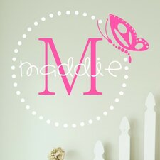 Personalized Butterfly Dots Monogram Wall Decal