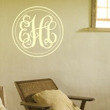 Personalized Double Circle Fancy Interlock Monogram Wall Decal