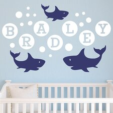 Shark Bubbles Personalized Wall Decal