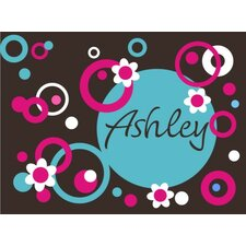 Personalized Circles Dots and Flowers Wall Decal