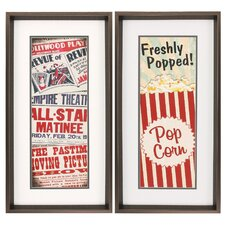 Matinee Popcorn 2 Piece Framed Textual Art Set