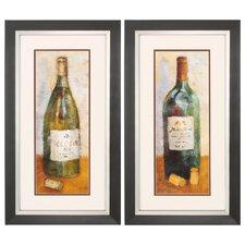 Wine Bottle 2 Piece Framed Painting Print Set