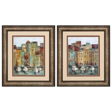 Old Town Port 2 Piece Framed Painting Print Set