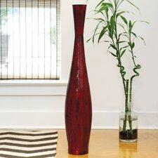 Red Bamboo Floor Vase