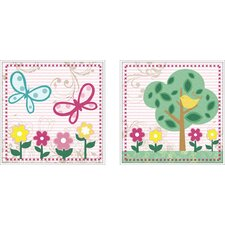 2 Piece Juvenile Flower Framed Art Set
