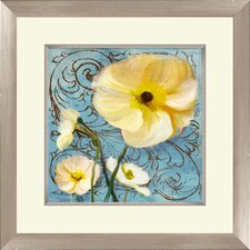 Flowers Giclée I Framed Painting Print in White and Yellow