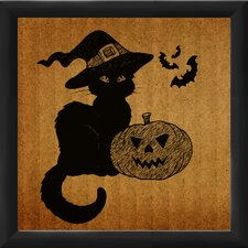 Halloween Cat in a Hat Framed Graphic Art
