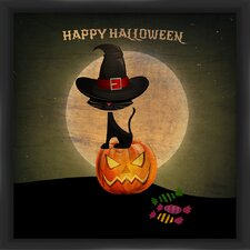Halloween Pumpkin and Cat Framed Graphic Art