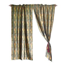 Jacquard Leaves Cotton Rod Pocket Curtain Panels (Set of 2)
