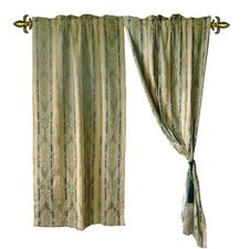 Jacquard Fleur-De-Lis Cotton Rod Pocket Curtain Panels (Set of 2)