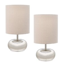"""Mercury Glass 12"""" H Table Lamps with Drum Shade (Set of 2)"""