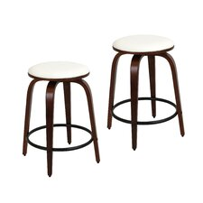 "Porto 24.5"" Swivel Bar Stool with Cushion (Set of 2)"