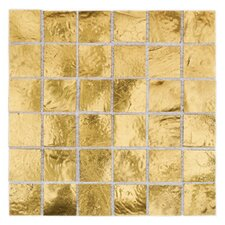 "Elemental  0.75"" x 0.75"" Glass Mosaic Tile in Gold Nugget"