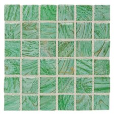"Elemental 0.75"" x 0.75"" Glass Mosaic Tile in Kiwi Punch"
