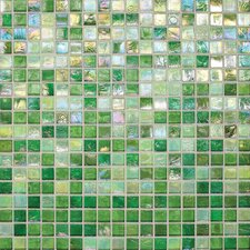 """City Lights 0.5"""" x 0.5"""" Glass Mosaic Tile in Green"""