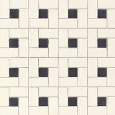 Keystones Blends Random Sized Ceramic Mosaic Tile in Cream/Black