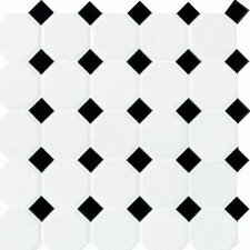 "Octagon and Dot 2"" x 2"" Ceramic Mosaic Tile in White"