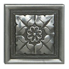 """Metal Ages 2"""" x 2"""" Romanesque Glazed Decorative Tile Insert in Polished Pewter"""