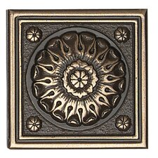 """Metal Ages 2"""" x 2"""" Baroque Glazed Decorative Tile Insert in Polished Bronze"""