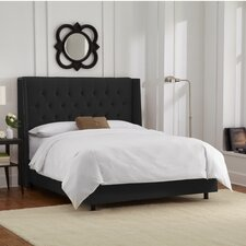Velvet Upholstered Wingback Panel Bed