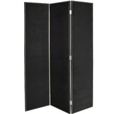 """Wheeling 72"""" x 49"""" Screen with Nail Buttons 3 Panel Room Divider"""
