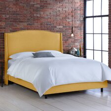 Nail Button Linen Wingback Panel Bed