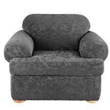 Stretch Jacquard Damask Armchair T-Cushion Slipcover