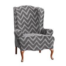 Stretch Chevron Wing Chair T-Cushion Slipcover