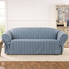 Grain Sack Stripe One Piece Box Cusion Slipcover for Sofa