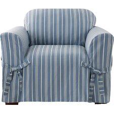 Grain Sack Stripe Box Cushion Arm Chair Slipcover