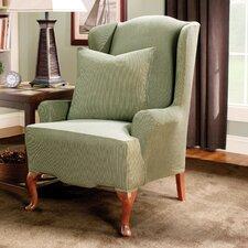 Stretch Stripe Wingback Chair T-Cushion Slipcover