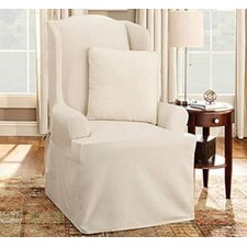 Cotton Duck Wing Chair T-Cushion Slipcover