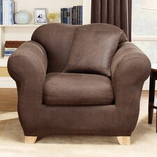 Stretch Leather Two Piece Armchair Slipcover