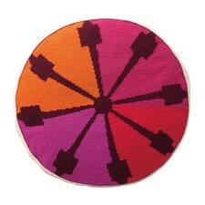 Indio Round Needlepoint Wool Throw Pillow