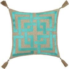 Neon Shanghai Links Embroidered Linen Throw Pillow