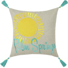Neon Palm Springs Embroidered Linen Throw Pillow