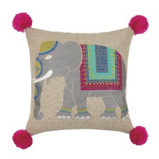 Elephant Embroidered Linen Throw Pillow