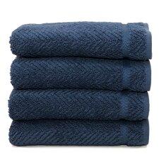 Luxury Hotel & Spa Herringbone Weave 100%Turkish Cotton Hand Towel (Set of 4)