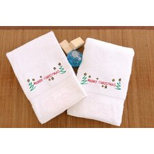 Merry Christmas Embroidered Hand Towel (Set of 2)