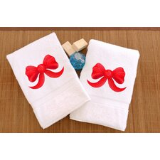 Ribbon Bow Embroidered Hand Towel (Set of 2)