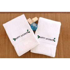 Happy Holidays Ornament Embroidered Hand Towel (Set of 2)