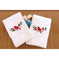 Cardinal in Boughs and Berries Spray Embroidered Hand Towel (Set of 2)