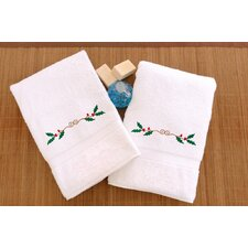 Holly Border Embroidered Hand Towel (Set of 2)