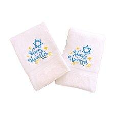 Happy Hanukkah Embroidered Hand Towel (Set of 2)