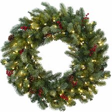 "30"" Lighted Pine Wreath"