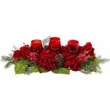 Triple Hydrangea Red Candelabrum