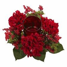 Faux Hydrangea & Berry Candleholder
